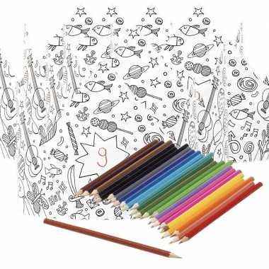 X knutsel papieren kroontjes om te kleuren incl. potloden