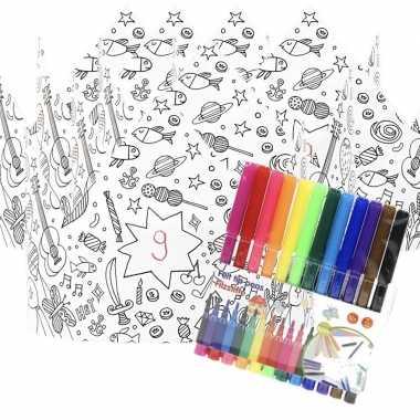 X knutsel papieren kroontjes om te kleuren incl. stiften