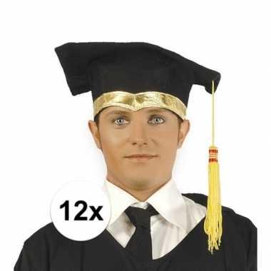 X luxe afstudeerhoedje / geslaagd hoedje gouden details