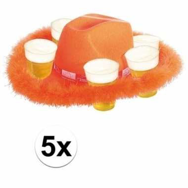 X oranje bier hoeden bont