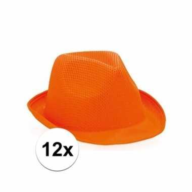 X oranje trilby hoedjes volwassenen
