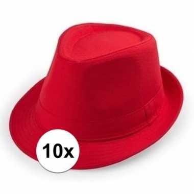 X rood trilby verkleed hoedjes volwassenen