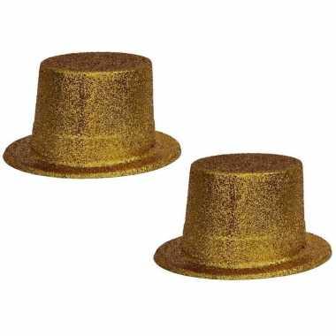 X stuks gouden glitter verkleed hoeden volwassenen