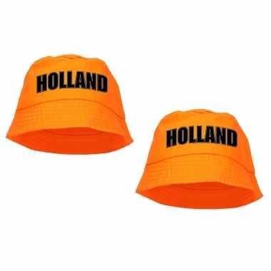 X stuks holland supporter visserspetje / zonnehoedje oranje koningsdag ek / wk fans