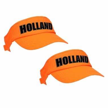 X stuks holland supporter zonneklep / sun visor oranje koningsdag ek / wk fans
