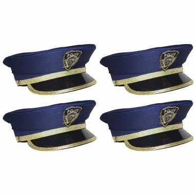 X stuks kinder verkleed politiepet blauw goud