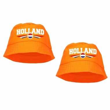X stuks oranje supporter / koningsdag vissershoedje holland ek/ wk fans