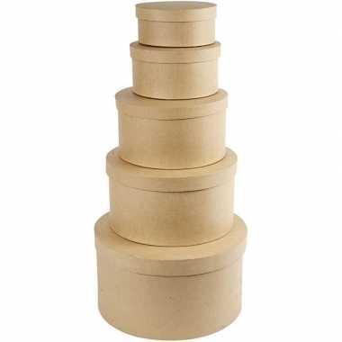 X stuks ronde bruine hobby opslag doos/dozen ,