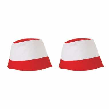 X stuks rood witte vissershoedjes zonnehoedjes volwassenen