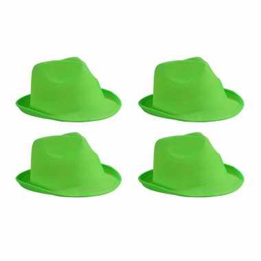 X stuks trilby feesthoedje lime groen volwassenen