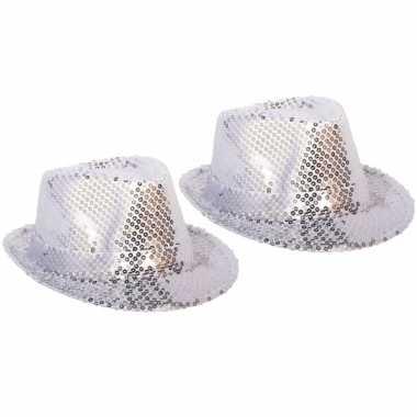 X stuks zilveren verkleed hoedje pailletten