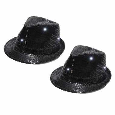 X stuks zwart pailletten hoedje led licht