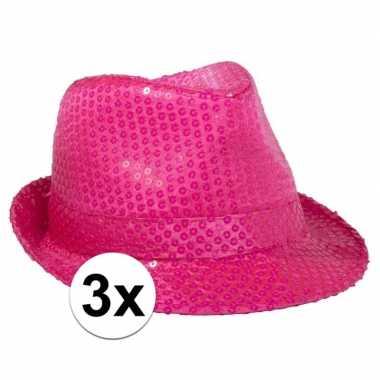 X toppers neon roze trilby hoed pailletten