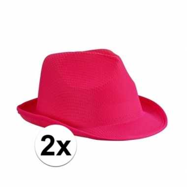 X toppers trilby feesthoed fuchsia volwassenen