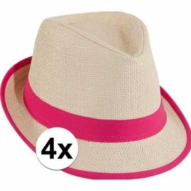 X toppers trilby stro hoedje roze