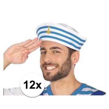 X wit/blauw matrozen verkleed hoedjes volwassenen