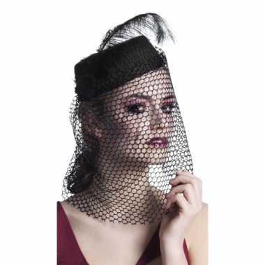Zwart dames hoedje sluier