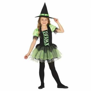 Zwart/groen heksen kostuum meisjes