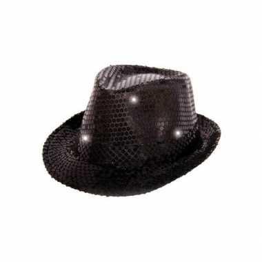 Zwart pailletten hoedje led licht