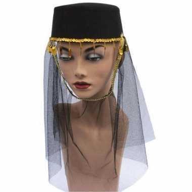 Zwarte harem hoed sluier