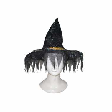 Zwarte heksenhoed franje rand