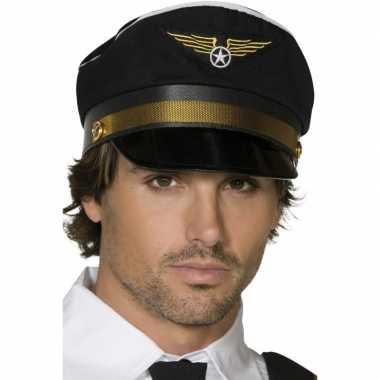 Zwarte piloten pet gouden details