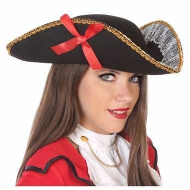 Zwarte piraten driesteek hoed volwassenen