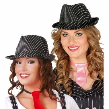 Zwarte trilby hoed krijtstreep volwassenen