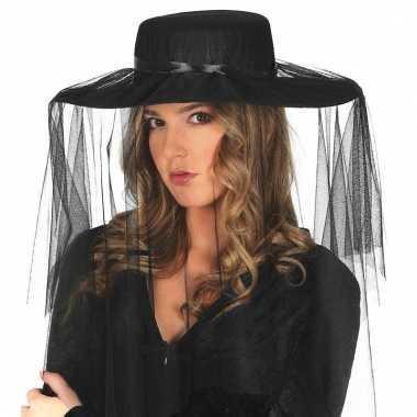Zwarte weduwe hoed sluier dames