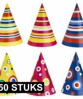 Gekleurde feesthoedjes stuks 10126534