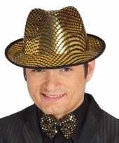 Glimmende gouden gangster hoed heren