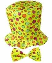 Hoge fun hoed geel strik