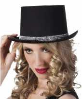 Hoge hoed zwart steentjes dames