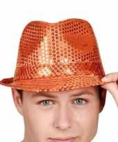 Oranje hoedje pailletten