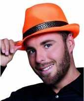 Oranje trilby hoed volwassenen
