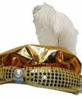 Sultan hoed goudkleurig pluim