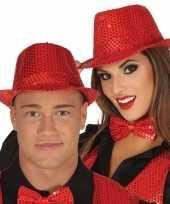 Toppers rode trilby verkleed hoed pailletten volwassenen