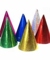 X gekleurde papieren feesthoedjes holografisch 10126281