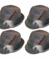 X grijze tiroler hoedjes verkleedaccessoires volwassenen 10166476