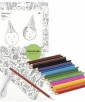 X knutsel papieren feesthoedjes om te kleuren incl potloden