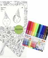 X knutsel papieren feesthoedjes om te kleuren incl stiften