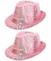X stuks roze glitter verkleed hoedje pailletten 10296328